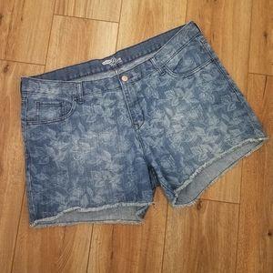 "Floral Print Denim Jean Cut-Off Shorts ""The Diva"""